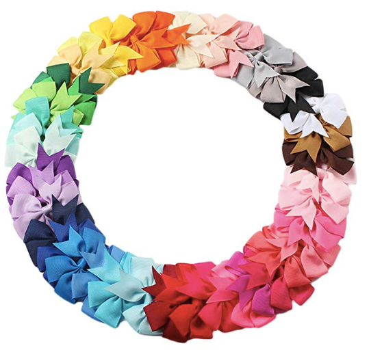 The image depicts all of the color hues which the Grosgrain Ribbon Hair Bows will come in.