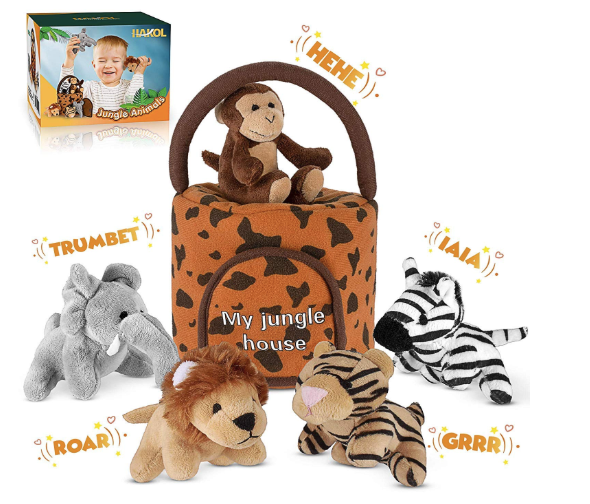 This image depicts the five jungle plushie toys, which consist of an elephant, a lion, a monkey, a tiger and a zebra. Their soft toy container is also depicted.