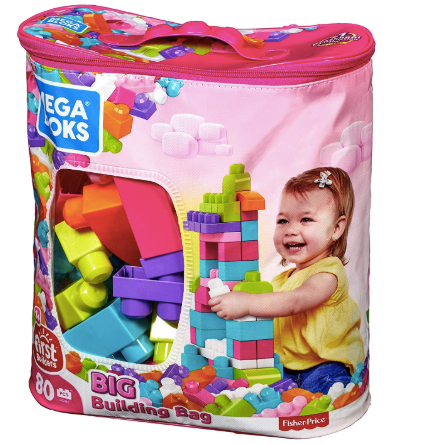 The image depicts the Mega Bloks stored in the large pink building bag which they are sold with.