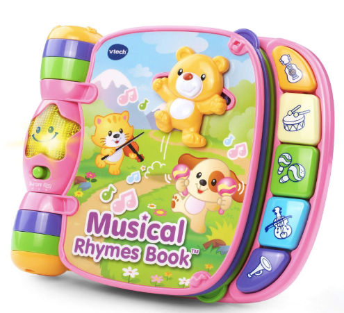 The image depicted is of the VTech Musical Rhymes Book.