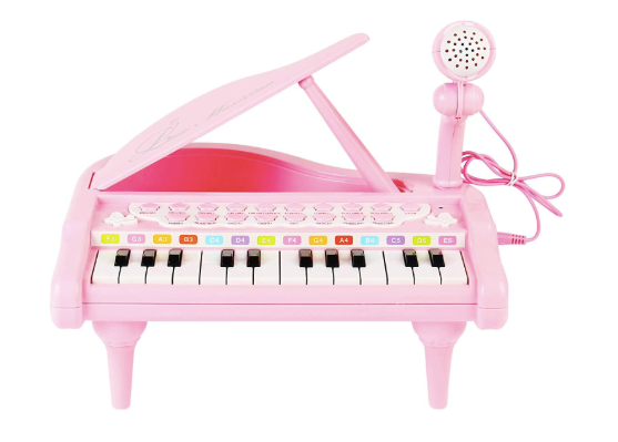 The image depicted is of the ConoMus pink piano keyboard toy and its accompanying microphone.