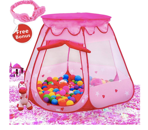 The image depicted is of the Le Papillion Pink Princess Tent Kids Ball Pit.