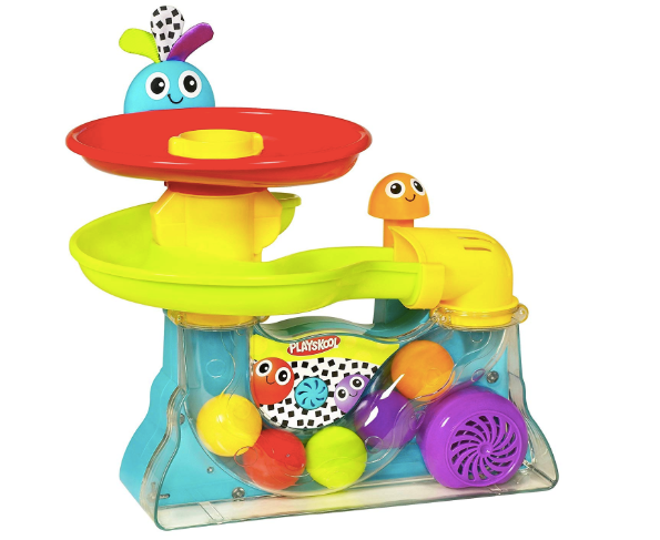 The image depicted is of the brightly colored Playskool Explore N'Grow Busy Ball Popper.