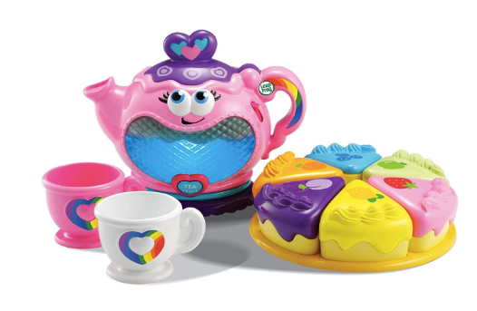 The image displayed is of the Rainbow Tea Party set which includes an interactive pink teapot, two teacups and six pieces of brightly colored cake.