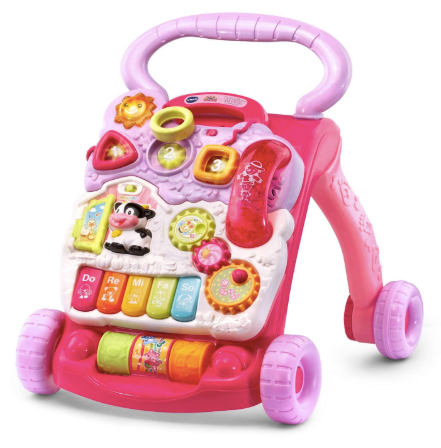 The image depicts the pink VTech Sit to Stand Learning Walker