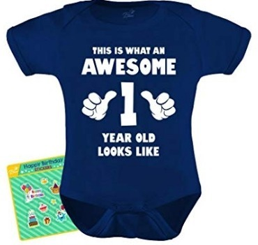 This is an image of 1 years old baby shirt quote in blue color