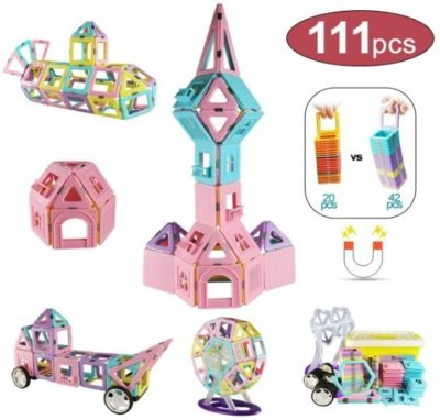 This is an image of baby girl magnetic blocks has 111 pieces