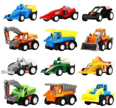 This is an image of kids pack mini construction vehicles with race cars toy in 12 pieces