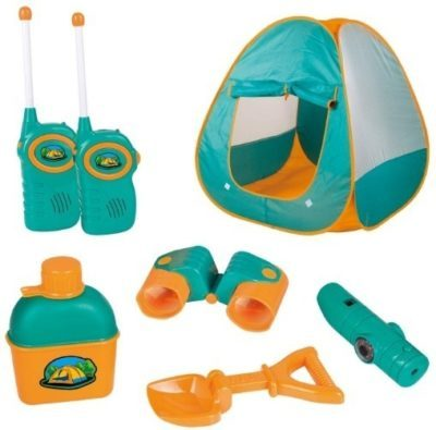This is an image of babu tent comping set in blue and orange color has 12 pieces