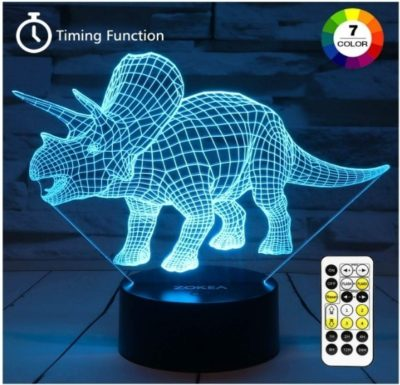 This is an image of baby night light in 3D with dinosaur designs