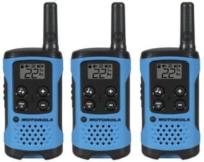 This is an image of kids motorola walkie talkies pack 3 in blue color
