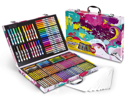 This is an image of an art case with 140-piece coloring supplies.