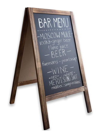 This is an image of a wooden magnetic chalkboard for kids.