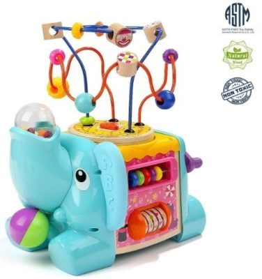 This is an image of baby activity cube toy in elephant design and blue color