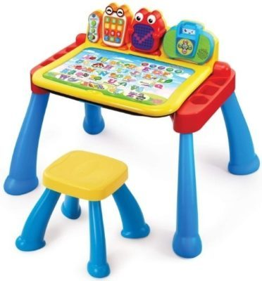 This is an image of baby deluxe activity desk in blue and yellow colors