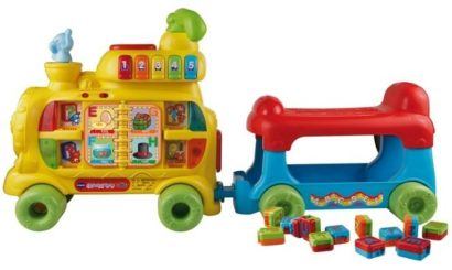 This is an image of baby sit and stand alphabet train in yellow and blue, red colors