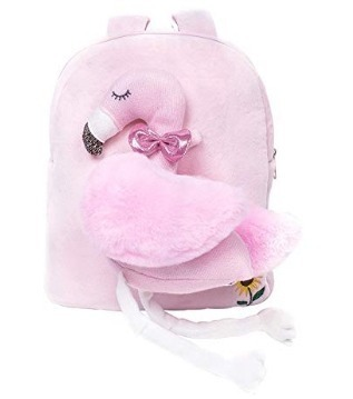 This is an image of baby backpack in pink flamingo design