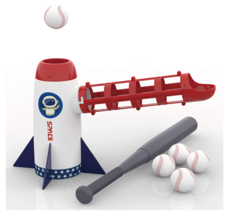 This is an image of a pitching machine toy set for kids.