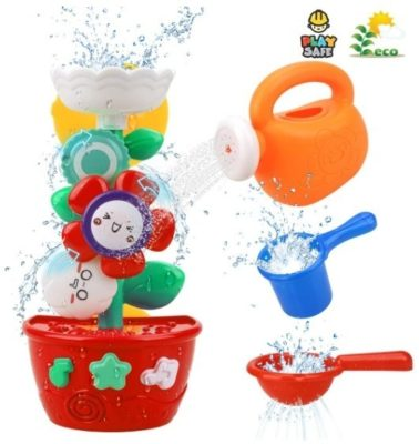 This is an image of baby bathub toy for plastic flowers with mini spinkler