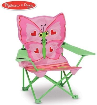 This is an image of baby girl butterfly outdoor chair in green and pink colors