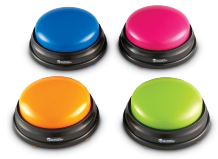 This is an image of a colorful buzzer toy for kids.