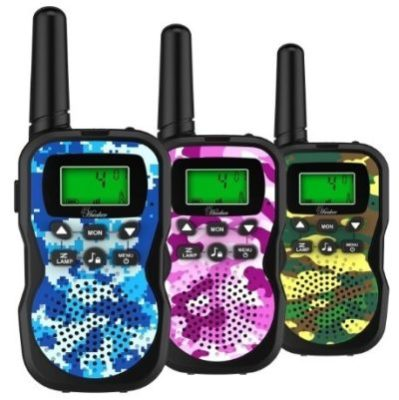 This is an image of kids 3 pack walkie talkies with camoflage colors