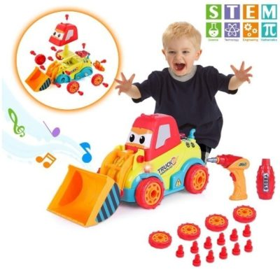 This is an image of baby car construction toys STEM car in orange and blue and red colors
