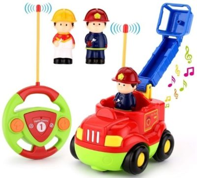 This is an image of toddler cartoon RC car in red color