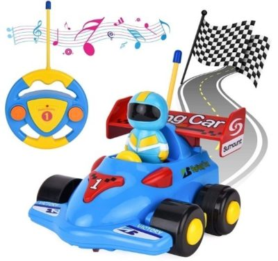 This is an image of toddler cartoon remote control car in blue color with songs