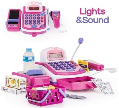 This is an image of baby girl cash register STEM toy with microphone in purple and pink color