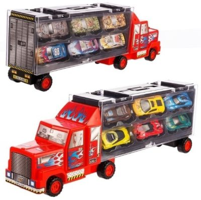 This is an image of kids cast carrir truck vehicles toy with multiple cars
