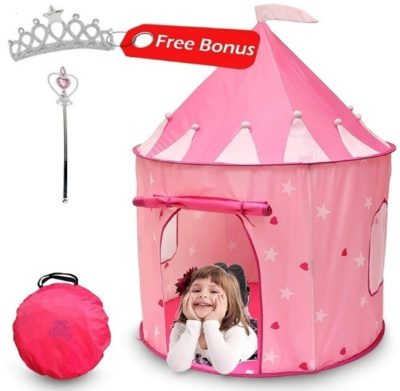 This is an image of baby girl catle play tent in pink color