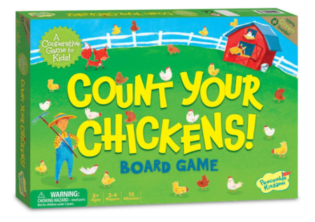 This is an image of a counting chickens cooperative game for 2 years old kids.