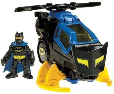 This is an image of kids dc batcopter in blue and black and yellow colors