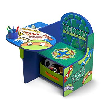 This is an image of kids desk with ninja turtles design graphics