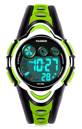 This is an image of a green digital watch designed for kids.
