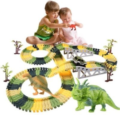 This is an image of kids dinosaur toys with trucks in beautiful colors like green and yellow and black colors