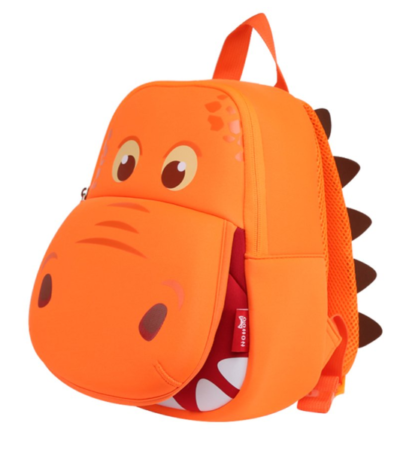 This is an image of an orange dinosaur backpack for kids.