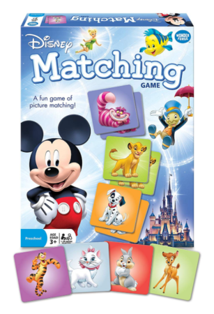 This is an image of a disney characters matching game for kids.