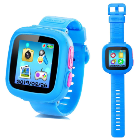 This is an image of a blue smart watch with build in games designed for kids.