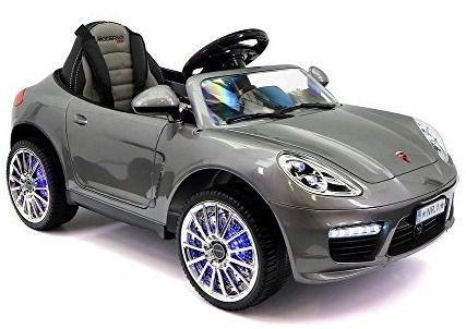 This is an image of kids gray ride on car with remote control