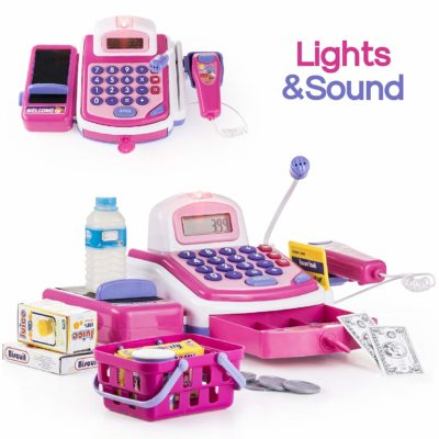 This is an image of girls electronic cash register STEM toy in pink color