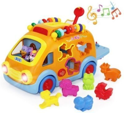 This is an image of baby electronic bus that has musical songs in orange color