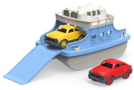 This is an image of a blue and white ferry boat toy with 2 mini cars.
