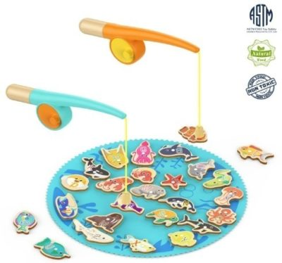 This is an image of baby fishing game in blue color with two canes
