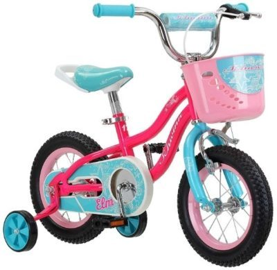 This is an image of girls bike in pink and blue colors