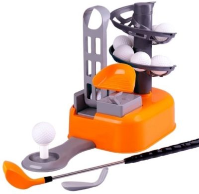This is an image of kids golf set toys for kids in orange color