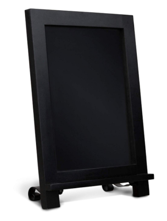 This is an image of a black mini magnetic chalkboard for kids.