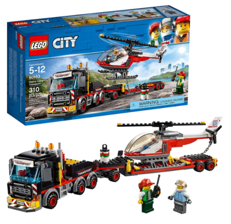 This is an image of a heavy cargo truck with a toy helicopter building kit.