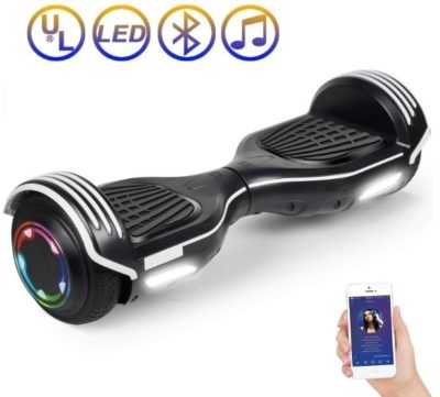 This is an image of kids hoverboard scooter in black and white colors
